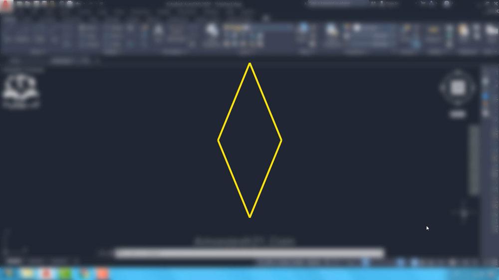 03 دستور Polygon در اتوکد- لوزی چندضلعی منتظم نیست
