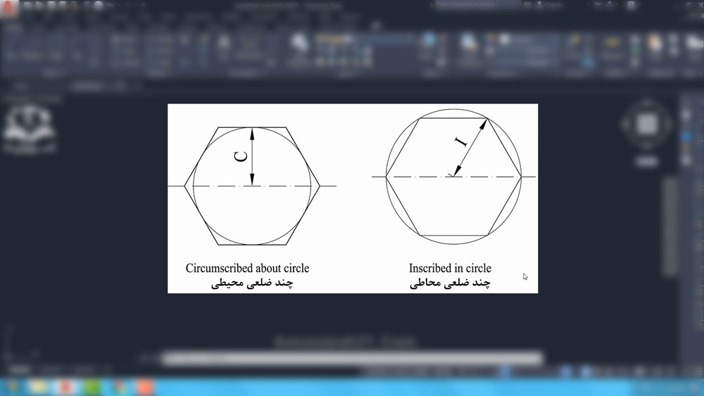 04 دستور Polygon در اتوکد- تعریف چندضلعی منتظم محیطی و محاطی