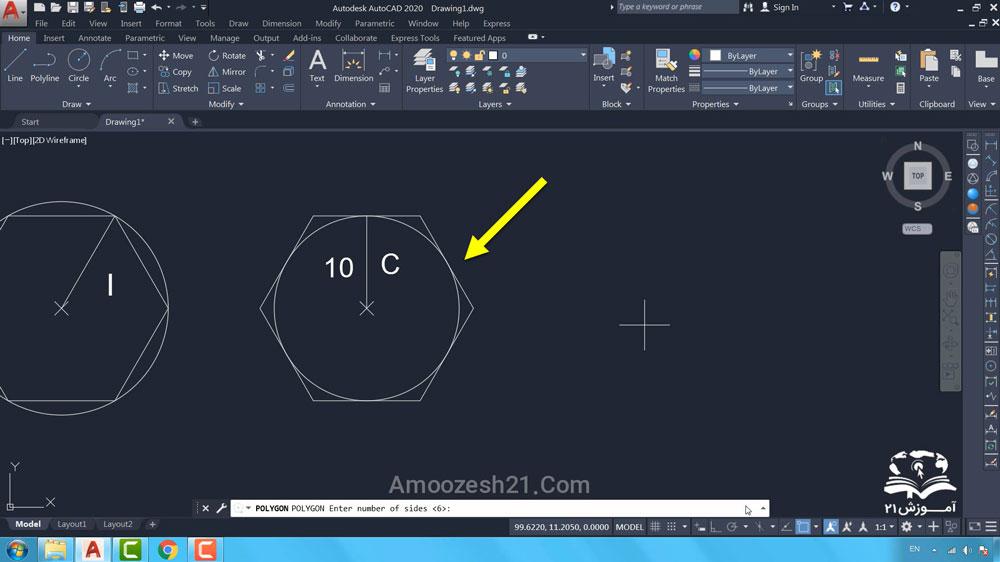 06 دستور Polygon در اتوکد- ترسیم با استفاده از فاصله C