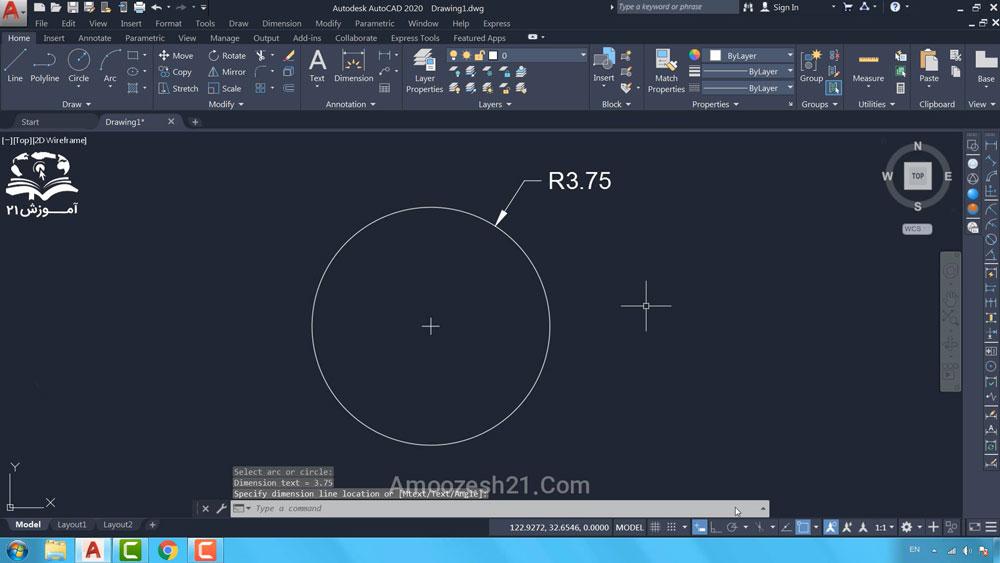 05 دستور Circle در اتوکد-روش اول ترسیم دایره، مرکز-شعاع