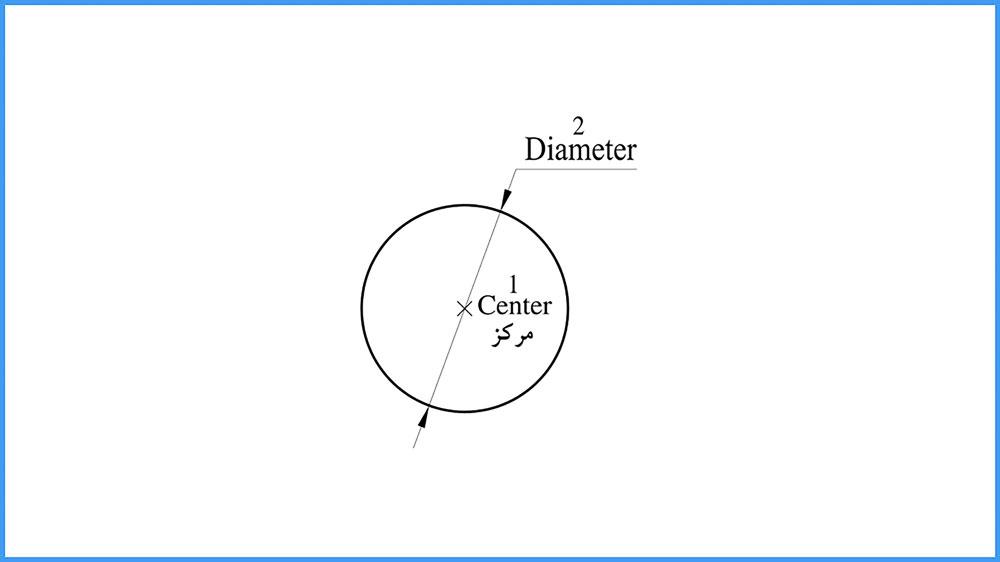 07 دستور Circle در اتوکد-روش دوم ترسیم دایره، مرکز-قطر