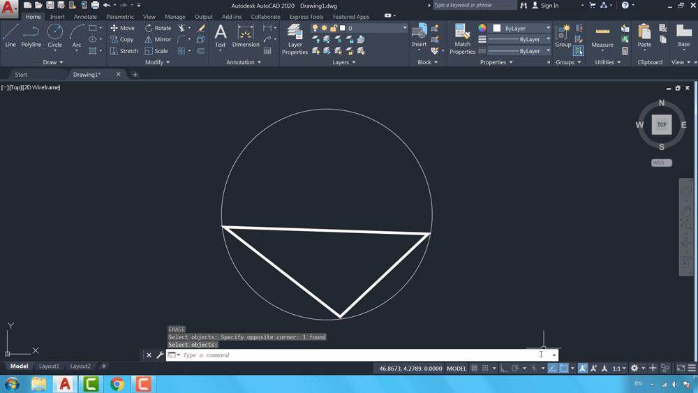 11 دستور Circle در اتوکد-روش سوم ترسیم دایره، سه نقطه
