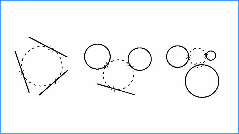 16 دستور Circle در اتوکد-روش ششم ترسیم دایره، مماس-مماس-مماس