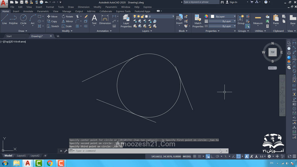 18 دستور Circle در اتوکد-نحوه اجرای روش ششم ترسیم دایره