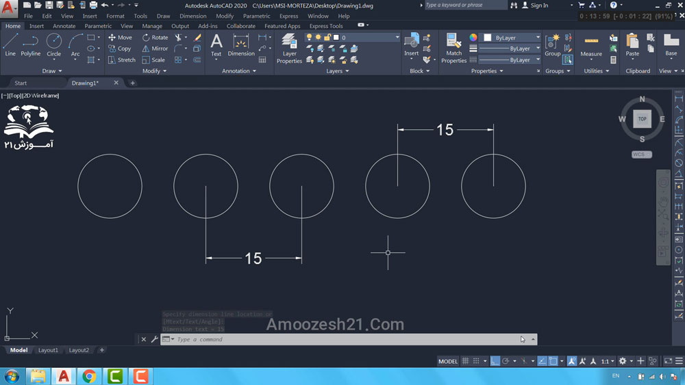 10 دستور Copy در اتوکد-نحوه استفاده از گزینه Array در دستور Copy