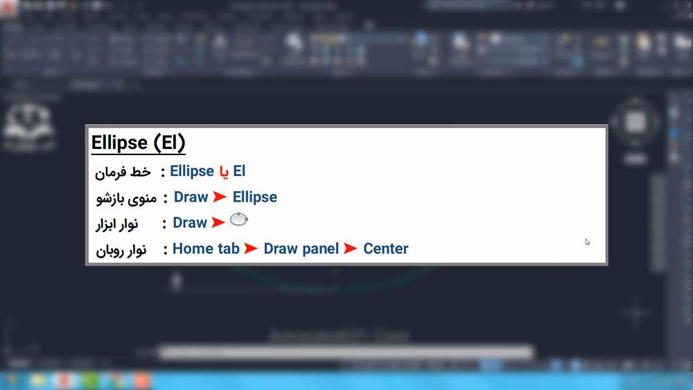 02 دستور Ellipse در اتوکد- انواع روش های اجرای دستور Ellipse در اتوکد