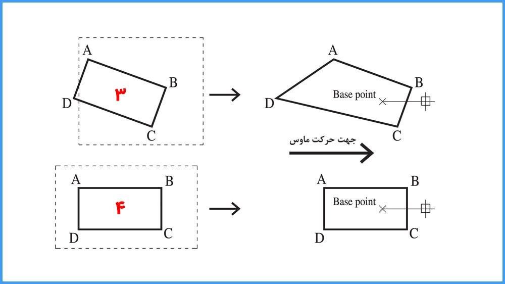 03 دستور Stretch در اتوکد- انواع روشهای انتخاب موضوعات برای دستور Stretch