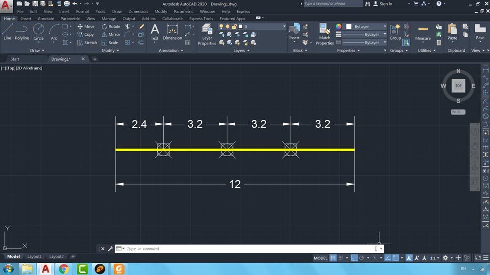02 دستور Measure در اتوکد -تقسیم یک موضوع از سمت راست به فواصل برابر