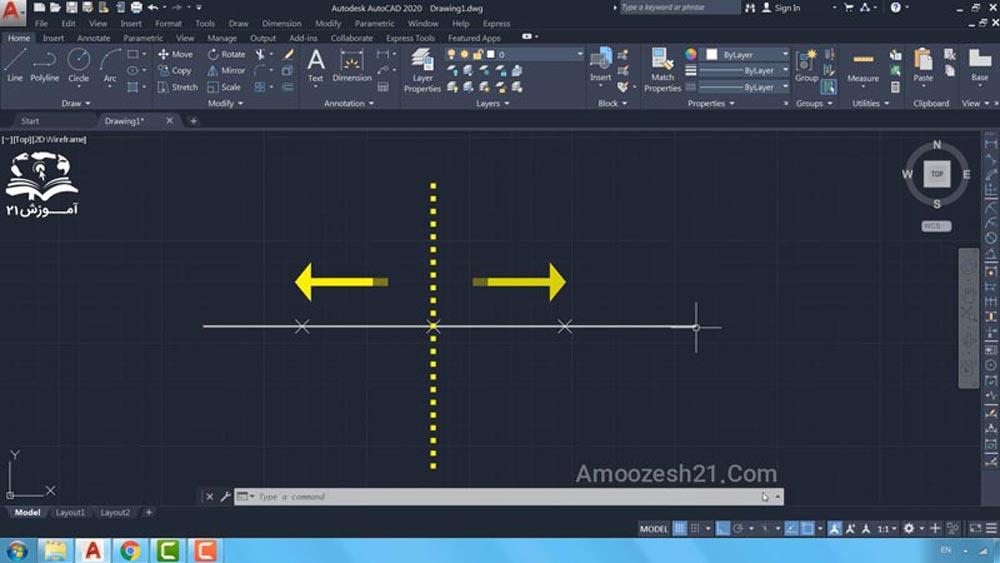 03 دستور Measure در اتوکد -کلیک در سمت راست یا چپ موضوع