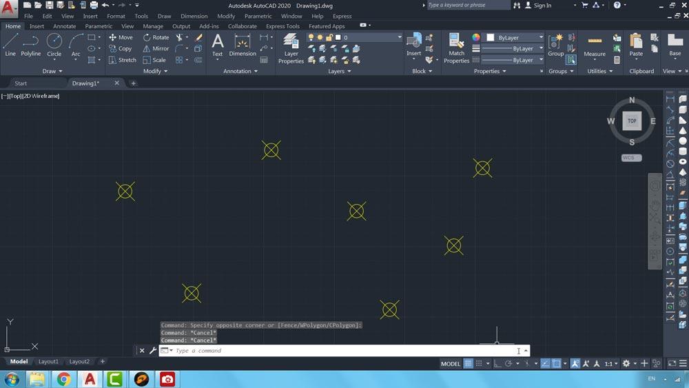 05 دستور Point Style در اتوکد-تغییر شکل نقاط درج شده در صفحه ترسیم