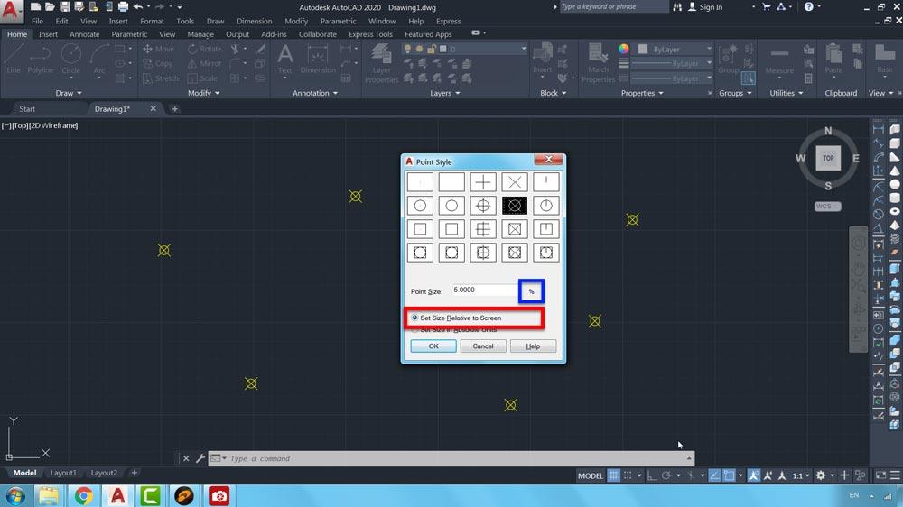 06 دستور Point Style در اتوکد-روشهای محاسبه مقیاس نقاط در صفحه