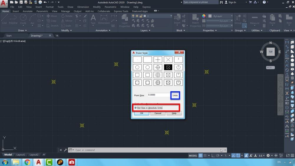 07 دستور Point Style در اتوکد-روشهای محاسبه مقیاس نقاط در صفحه